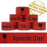 6 x VORSICHT GLAS Klebeband reißfest normal abrollend, 48 mm x 66 lfm Verpacking