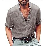 Honestyi Mode Herren Langarm Henley Shirt Baumwolle Leinen Strand Yoga Loose Fit Tops Bluse Herren Oberteile/Pullover Basic Grau/Khaki M-2XL