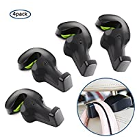 Home-Neat Pack of 4 Car Vehicle Back Seat Hidden Hook, Universal Car Vehicle Back Seat Headrest Hanger Holder Hook for Shopping Bag Purse Cloth Coat Grocery Handbags Grocery Bag
