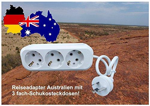 3 Fach Reiseadapter für Australien, Neuseeland, Argentinien, Papua-Neuguinea, Uruguay, die geniale Erfindung!