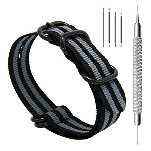 CIVO Uhrenarmband NATO Strap Heavy Duty G10 Zulu Militär Nylon Uhrband 20mm 22mm 24mm mit 5 Ringe Edelstahl Schnalle -