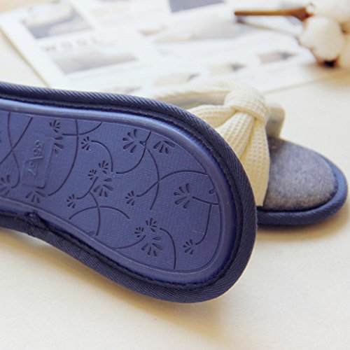 Fortuning's JDS Le donne delle ragazze delle signore cotone Casa pantofole elegante dell'arco Flops flatform aperto Sandali dita dei Bianco