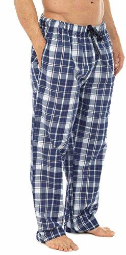 Tom Franks Herren Schlafanzughose, Kariert Blau