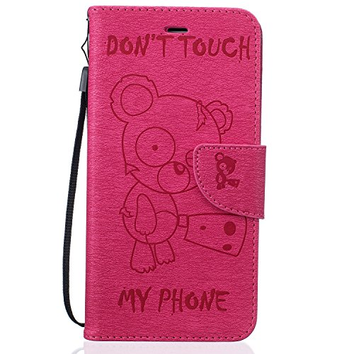 Schutzhülle für iPhone 7 Plus/8 Plus Leder Tasche Lila,BtDuck Slim Flip Cover Lanyard Ledertasche Wallet Case Bunte Muster Patterned Handytasche PU Leder Hülle für Apple iPhone 7 Plus/8 Plus 5,5 Zoll  Bear,hot pink