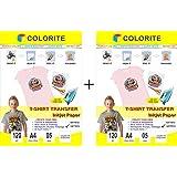 Colorite T-shirt Transfer Inkjet Paper Light Fabrics A4 x 2 Packs (10 Sheets)