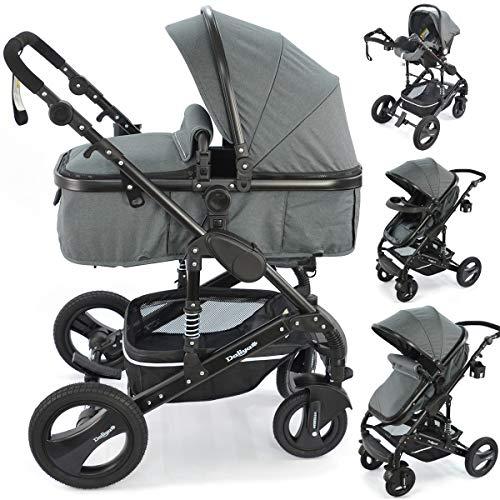 """3 in 1 Kinderwagen\""""Bambimo Khaki Braun\"""" Babywanne - Buggy - Sportsitz - Babyschale - Aluminium Gestell - Kombi Kinderwagen - Wickeltasche - Regenschutz - Tischablage - Autositz - Viel Zubehör"""