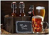 Wallario Wand-Bild 70 x 100 cm | Motiv: Biervarianten - Pils im Glas Flaschenbier Schild Craft Beer | Direktdruck auf 5mm Sta