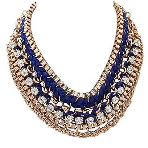 Europa Den Vereinigten Staaten übertrieben Weben Mehrschichtige Claviclekette Mode Quadrat Halskette Flash-Bohrer Bib Persönlichkeit Weiblich,D-OneSize