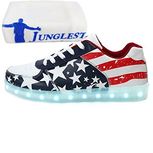 [Presente:piccolo asciugamano]Rosso EU 37, Up maniera degli da ricarica Shoes JUNGLEST® unisex donne scarpe pattini LED uomini casuali American USB tennis di lampeggiante lumino