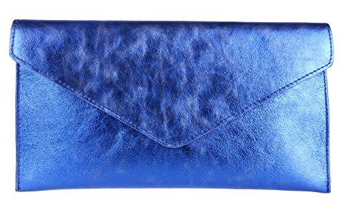 Girly Handbags Genuine Italienische Wildleder Umschlag Clutch Bag Umschlag Wristlet Metallic Royal Blue