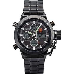 ZEIGER Herrenuhr Digital Analog Quarz Armbanduhr Edelstahl Datum Licht Chronograph Herren Uhr W440