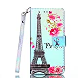 Coopay Schutzhülle für iPhone 7 iPhone 8,Ledertasche Blau Licht Paris Eiffelturm Rosen Brieftasche Wallet Case Cover Handytasche Handyhülle,Ständer Kartenfach Lederhülle Klapphülle Klappetui