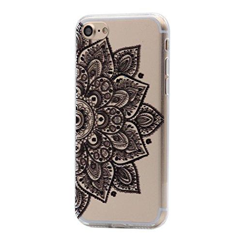 Keyihan iPhone 8/7 Custodia Cover Modello Datura Mandala Fiore Protettiva Caso Rigida con Morbido Bordo per Apple iPhone 8 e iPhone 7 (Grande Fiore Nero)