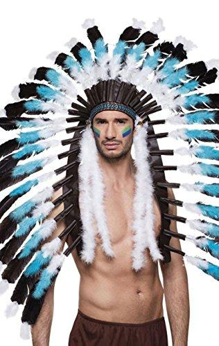Häuptling Herren Indianer Kostüm - Boland 44141 Kopfschmuck Indianer Snow Wolf, One Size