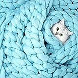 so-buts Hand geschoben Strickdecke Dicke Wolle Klobigen Stricken Überwurf, blau, 100X80cm