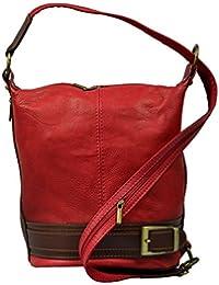 attractive rojo bolso de mano de cuero sobre el hombro Adele Rossa