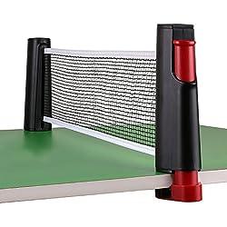 homeself portátil retráctil, de repuesto de Red de tenis de mesa PING PONG Red, Poste Set Accesorios, 6pies (1.8M), para mesas de hasta 2.0inch (5,0cm), negro
