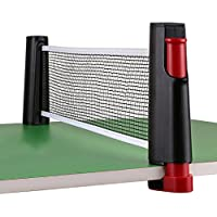 HomeYoo Tischtennisnetz, tragbar, versenkbar, Spielen in Innenräumen, Tischtennisnetz, 1,8m, passt für Tische mit einer Dicke von bis zu 5,0cm