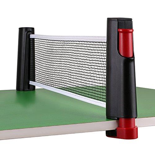 Tragbar Versenkbare Tisch Tennis Net Ersatz, Homeself Tischtennis Net Post Set Accessory, 6 Fuß (1,8 m), passt für Tische bis 5,1 cm (5,0 cm) (Black)