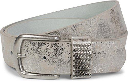 styleBREAKER Gürtel mit zweifarbigen Nieten an der Schlaufe, Nietengürtel, kürzbar, Unisex 03010088, Größe:85cm, Farbe:Antik-Silber