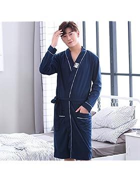 Mangeoo pijamas para hombre de primavera y otoño de algodón de longitud mediana, código grande, albornoz suelto...