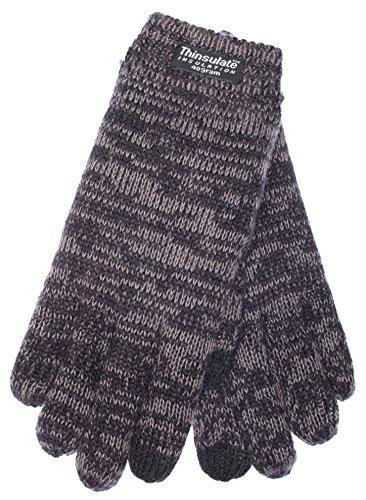 EEM Kinder Strick Handschuhe SNOW AND FUN mit Touch-Funktion und Thinsulate™ Thermofutter aus 100% Baumwolle, warm, sportlich, smartphone, schwarz/anthra, Größe M