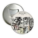 DIYthinker il padiglione hidden a chengdu della cina rotonda apribottiglie magnete del frigorifero pins distintivo 3pcs pulsante regalo Argento