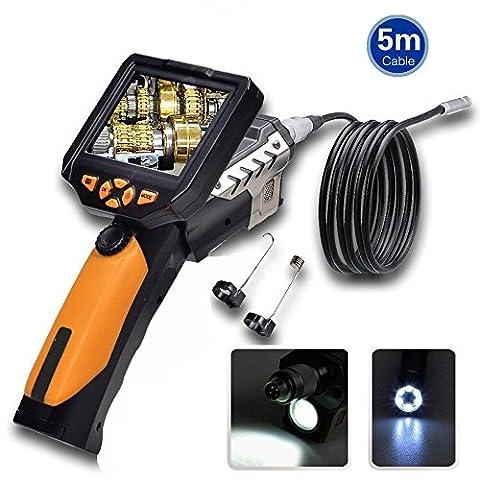 Trofou®--NTS200 Endoscope Caméra D'inspection Etanche HD 720P 3.5 Inch Numerique LCD Moniteur 8.2mm Diameter Avec 360° Rotation d'image (5M Câble)