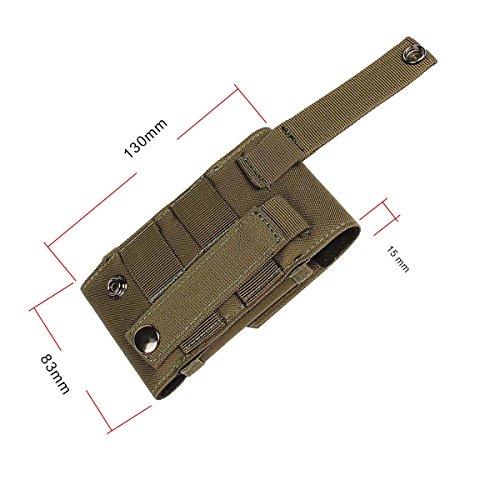 xhorizon(TM)MW8 M Größe 1000D Nylon Tactical Außen MOLLE Armee Camo Camouflage TaschenhakenSchleife Gürteltasche Holster Hülle für Multi Handy Modell #B2 Armee Grün
