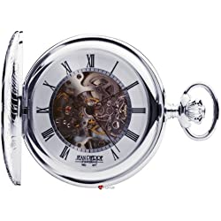 Silver Skeleton Pocket Watch Half Hunter 17 Jewelled Mechanical Movement