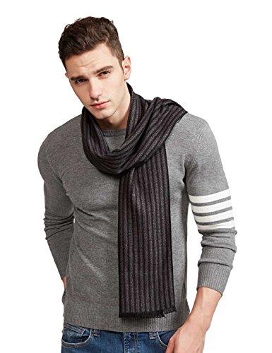 SEW ELEGANT Warm Schal Plaid Tartan gestreifter Weaving Herren Weicher Mode Classic und Elegant Business Schals (Grau schwarz) -