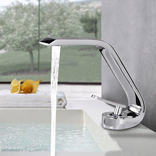 Preisvergleich Produktbild BONADE® Wasserfall Einhandmischer Waschtischarmaturen Wasserhahn Bad Armatur für Badezimmer Waschbecken, 59 Kupfer, Chrom
