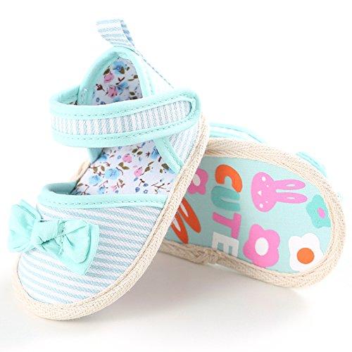 Confortables Tout-petits Sandales Souples Bébé Chaussures Filles Chaussures Premiers Pas à Rayures avec Bowknot, 0-18 mois (Rouge, L) Vert