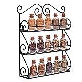 Meisax Kräuter- und Gewürzregal Gewürz-Ständer mit 3 Etagen für die Schranktür, die Küchenwand (Schwarz)
