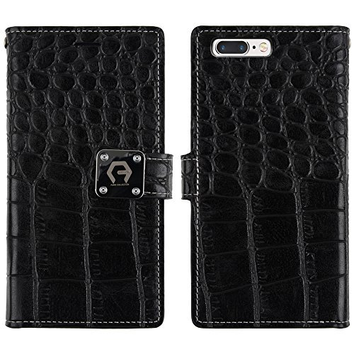 new product 393fa fb757 Arium iPhone 7 Plus Case, [CDiary] Premium Wallet [Black] [TPU Bumper] PU  Crocodile Leather Cover with Wriststrap [Drop Protection] for Apple iPhone  7 ...