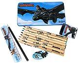 COM-FOUR® Set da 13 Pezzi per Bambini con Disegni di dragoni DreamWorks (Set da Scrittura - 13 Pezzi)