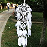 JBSM Catch DreamWorks White Feather Bell Wedding Hanging Adornos Indian Dream Network Colgantes Regalos De Decoración De Boda Plumas de Ganso de Tres Anillos