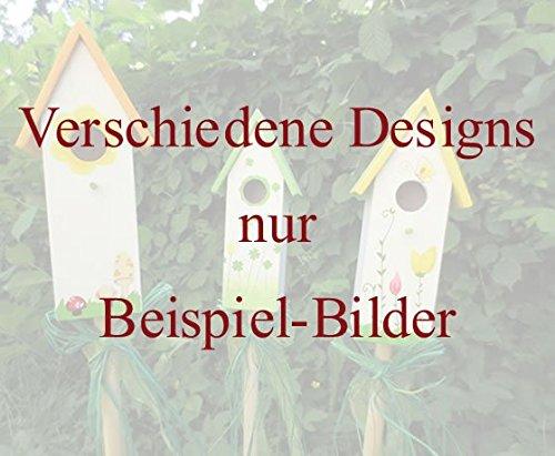 10er Set Gartenstecker Vogelhaus Deko Gartenstab Rankhilfe Gartenspieß Holz NEU - 3
