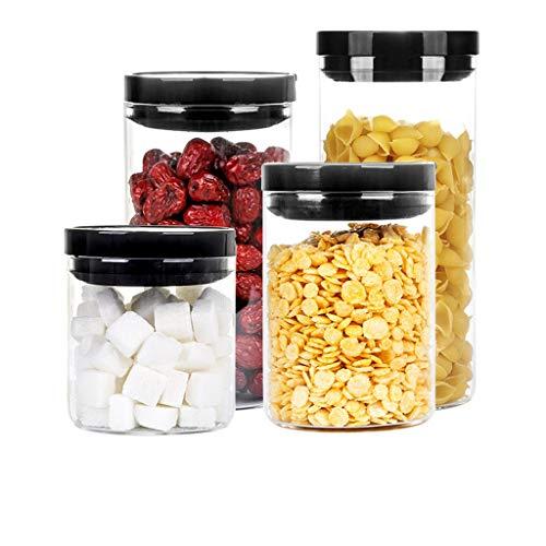 XQQ Contenitori di stoccaggio di Cereali a Tenuta stagna di Grandi Dimensioni Contenitori di stoccaggio di Cereali Resistenti a Tenuta stagna Contenitori Trasparenti Senza BPA con coperchi Neri