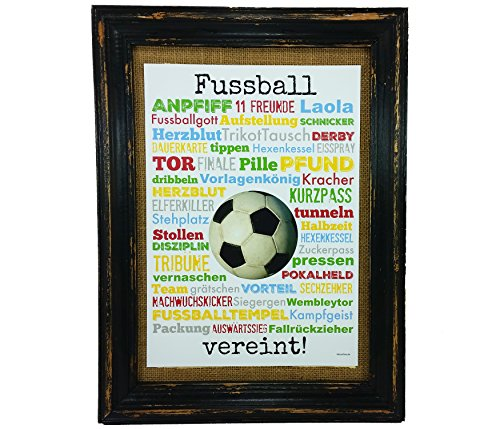 Fussball vereint! Druck Poster A4 Geschenk AnneSvea Typo Deko Fußball Soccer Verein Spiel Turnier Sieg Derby Trikot Pokal Tribune-spiel