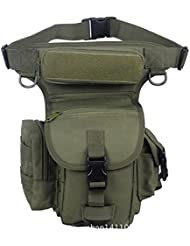 Senderismo Exterior Militar Táctico muslo Pierna Cintura Pack Bolsa de Pesca para 1000d Cordura Utilidad, Army Green