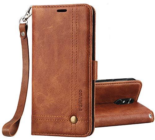 Ferilinso LG Q7/ LG Q7 Plus/LG Q7α Hülle, Elegantes Retro Leder mit Identifikation Kreditkarte Schlitz Halter Schlag Abdeckungs Standplatz magnetischer Verschluss Kasten für(Braun)