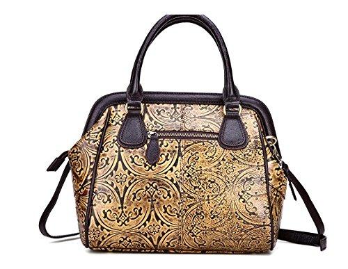 DJB/Retro Fashion Leder Handtasche Leder geprägt Damen tragbar shoulder-slung Tide Tasche Gelb