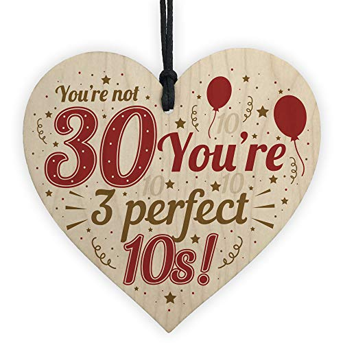 Handmade 30th Birthday Wooden Heart Gift