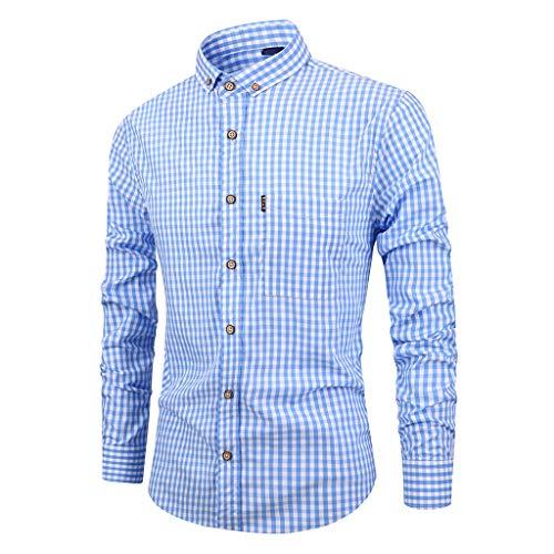 Xmiral Herren Kariertes Langarm Umlegekragen Shirt Geeignet für Anzüge Taste Beiläufige Spitzenbluse Hemden Slim Fit Langarm Hemden Streifen(b Hellblau,M) -