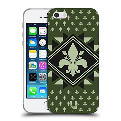 Head Case Designs Diamant Fleur De Lys - Collection Étui Coque en Gel molle pour Apple iPhone 5 / 5s / SE Chasseur