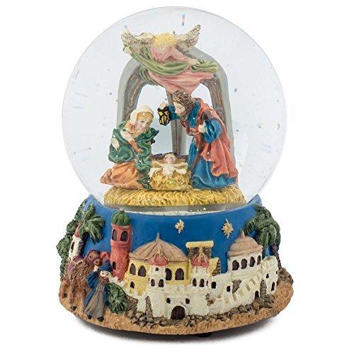 Heilige Familie Watching Krippe 100mm Weihnachten Musik Wasser Globe spielt klassische Musik Box Tune -