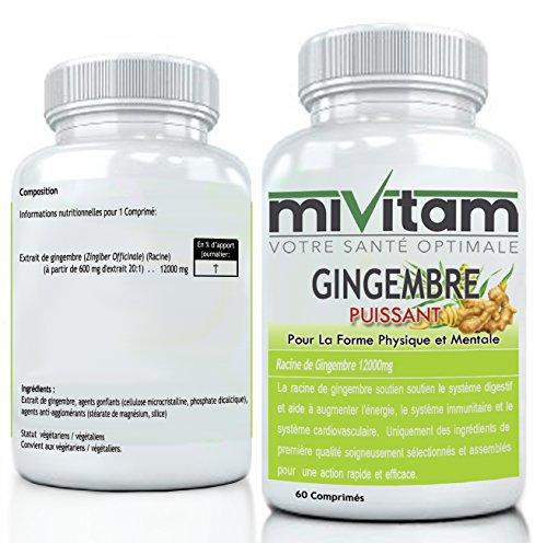 GINGEMBRE PUISSANT 12000mg: Booste L'énergie, L'immunité, Antioxidant Performant, Favorise la Digestion: COMMANDEZ 2 POUR LIVRAISON GRATUITE…