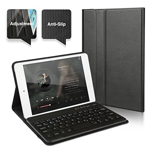 iPad MINI 4 Funda con Teclado Bluetooth ,CoastaCloud iPad MINI 4 Funda Cubierta Protectora con Teclado Inalambrico QWERTY Español para Apple iPad Mini 4 lanzado en 2015 (A1550/A1538)Negro