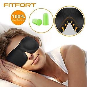 FITFORT Premium Schlafmaske 3D Schlafbrille – Augenmaske für Frauen & Herren Schlafen Bequem und Weich 100% Blackout und Verstellbarem Gummiband Inklusive Ohrstöpsel Reise unerlässlich, Schwarz